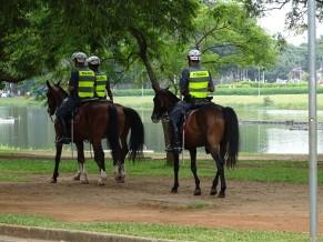 İbirapuera Parkı'nda atlı polisler