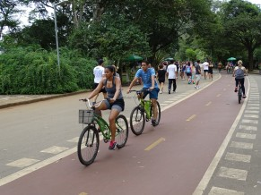 İbirapuera Parkı'nda bisiklet yolu
